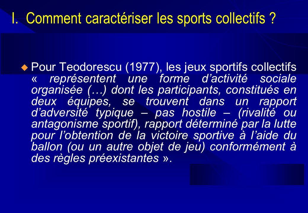 I. Comment caractériser les sports collectifs ? Pour Teodorescu (1977), les jeux sportifs collectifs « représentent une forme dactivité sociale organi