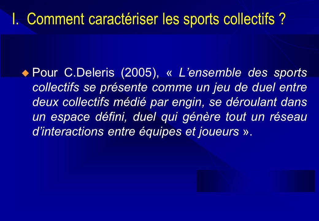 I. Comment caractériser les sports collectifs ? Pour C.Deleris (2005), « Lensemble des sports collectifs se présente comme un jeu de duel entre deux c