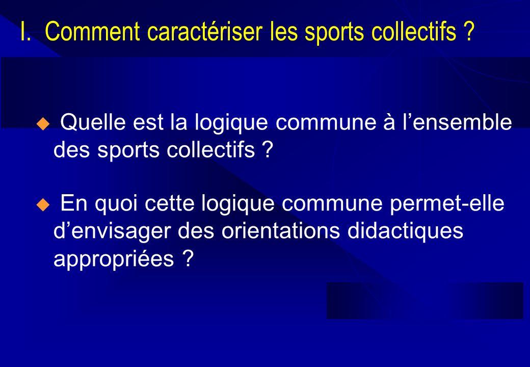 I. Comment caractériser les sports collectifs ? Quelle est la logique commune à lensemble des sports collectifs ? En quoi cette logique commune permet