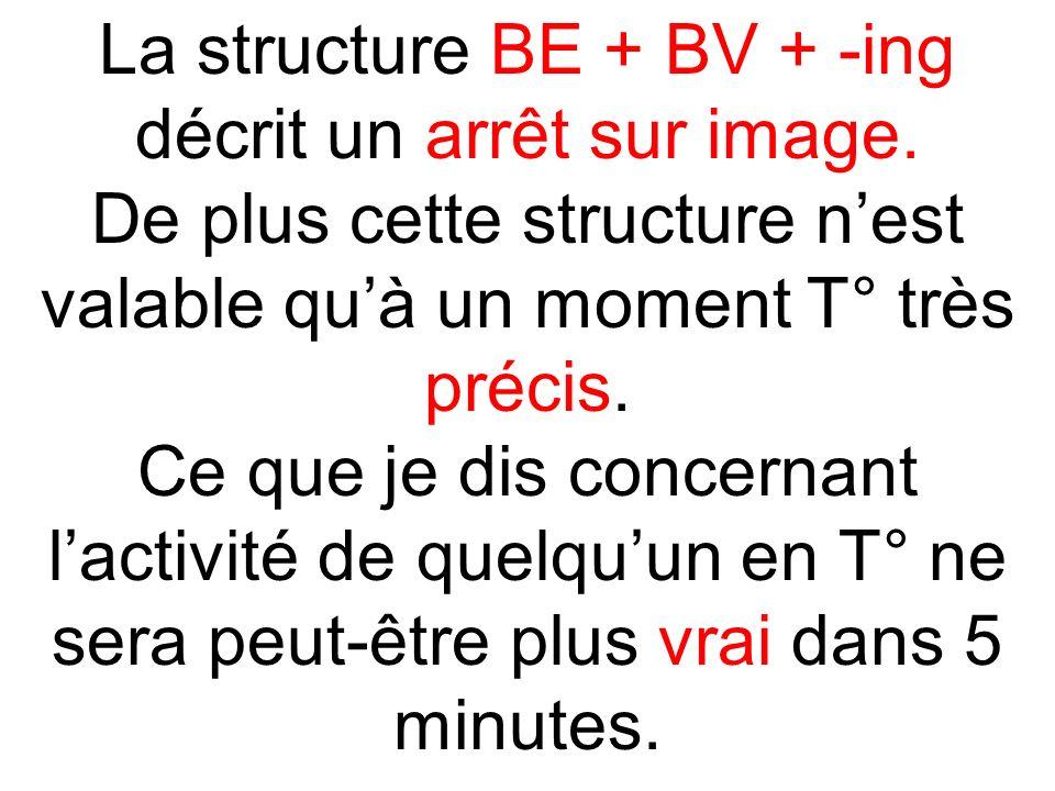 La structure BE + BV + -ing décrit un arrêt sur image. De plus cette structure nest valable quà un moment T° très précis. Ce que je dis concernant lac