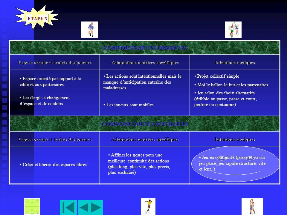 COMPORTEMENTS OBSERVES Espace occupé et trajets des joueurs Adaptations motrices spécifiques Intentions tactiques COMPORTEMENTS SOUHAITES Espace occup