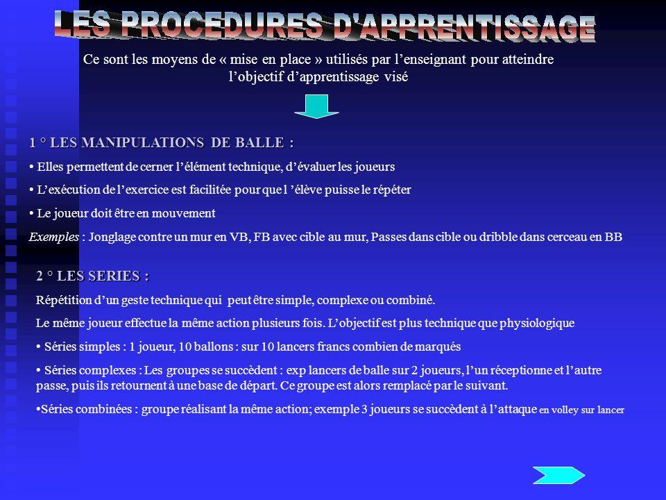 Ce sont les moyens de « mise en place » utilisés par lenseignant pour atteindre lobjectif dapprentissage visé 1 ° LES MANIPULATIONS DE BALLE : Elles p