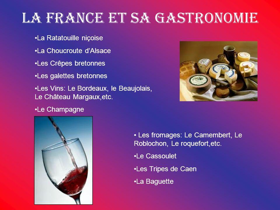 La France et sa gastronomie La Ratatouille niçoise La Choucroute dAlsace Les Crêpes bretonnes Les galettes bretonnes Les Vins: Le Bordeaux, le Beaujol