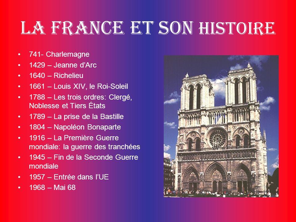 La France et son histoire 741- Charlemagne 1429 – Jeanne dArc 1640 – Richelieu 1661 – Louis XIV, le Roi-Soleil 1788 – Les trois ordres: Clergé, Nobles