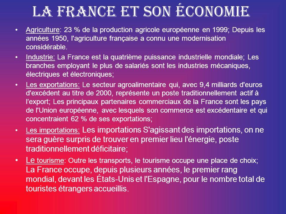 La France et son économie Agriculture: 23 % de la production agricole européenne en 1999; Depuis les années 1950, l'agriculture française a connu une