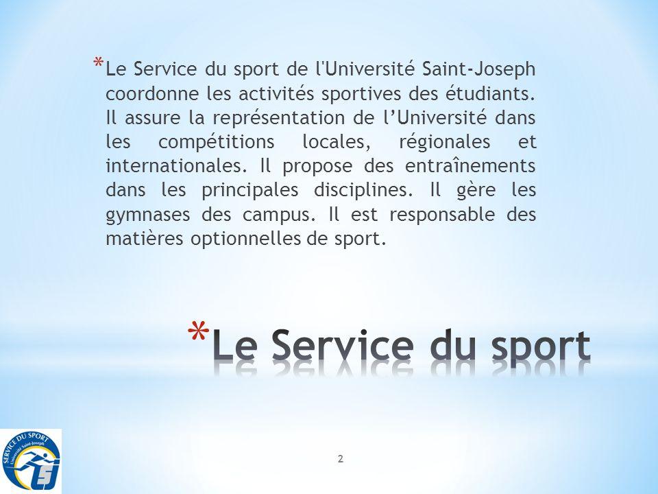 2 * Le Service du sport de l Université Saint-Joseph coordonne les activités sportives des étudiants.