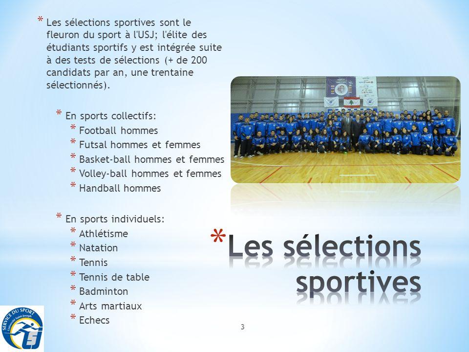 3 * Les sélections sportives sont le fleuron du sport à l USJ; l élite des étudiants sportifs y est intégrée suite à des tests de sélections (+ de 200 candidats par an, une trentaine sélectionnés).