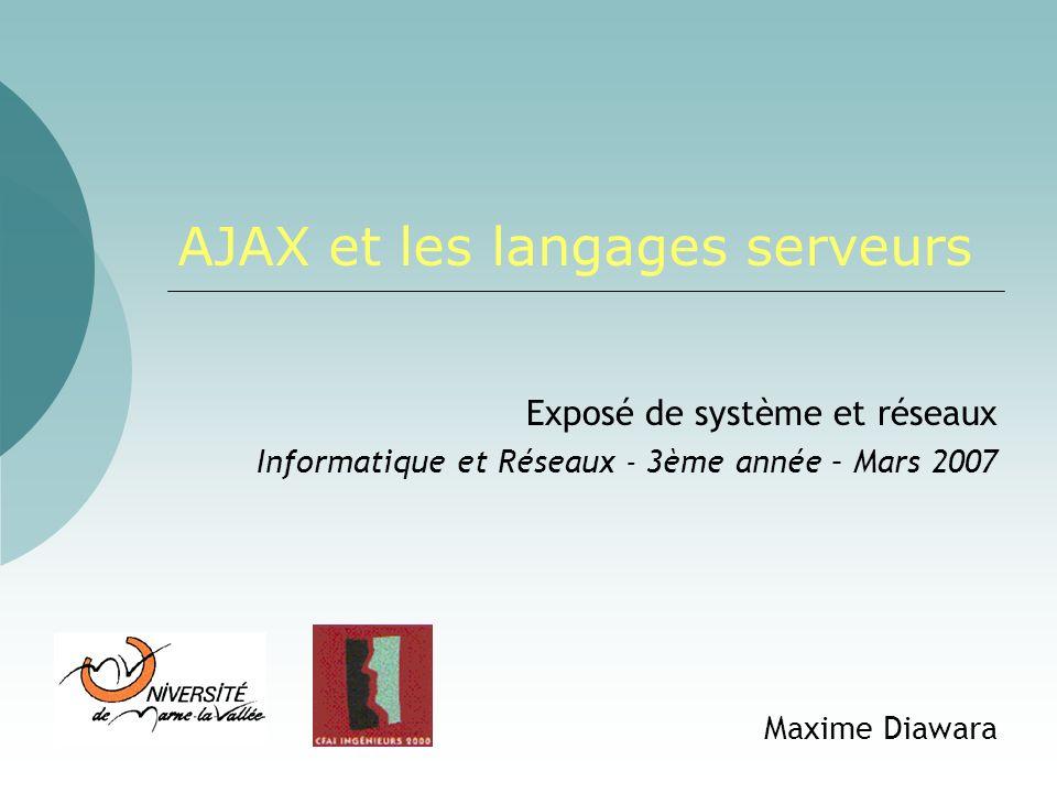 Maxime Diawara - 2007Ajax et les langages serveurs22 Traitement des données Les données JSON JavaScript Object Notation (XML en texte) Peut contenir du code javascript textData = eval( ( +requete_ajax.responseText+ ) ); $(id ).innerHTML = textData.Info; { Info: chargement en cours… , Site: myajax.fr } Ajax Technologies mises en jeu Langages serveurs Framework Aller plus loin