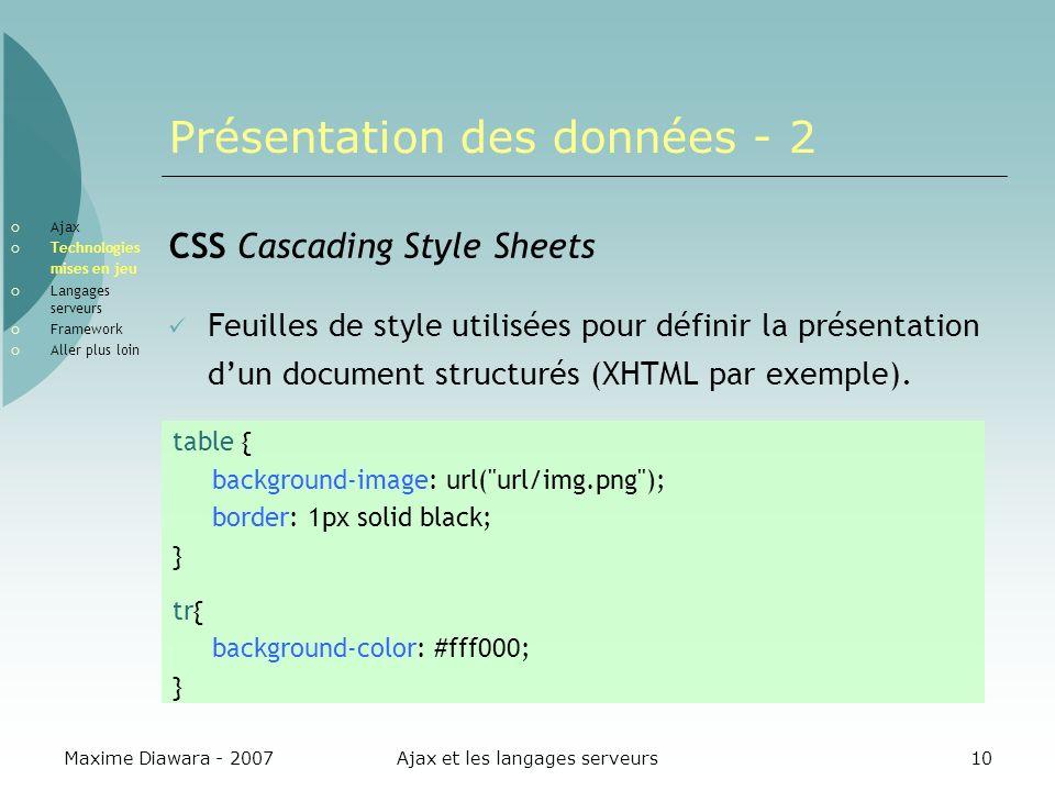 Maxime Diawara - 2007Ajax et les langages serveurs10 Présentation des données - 2 CSS Cascading Style Sheets Feuilles de style utilisées pour définir