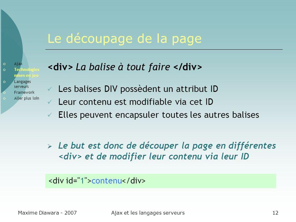 Maxime Diawara - 2007Ajax et les langages serveurs12 Le découpage de la page La balise à tout faire Les balises DIV possèdent un attribut ID Leur cont