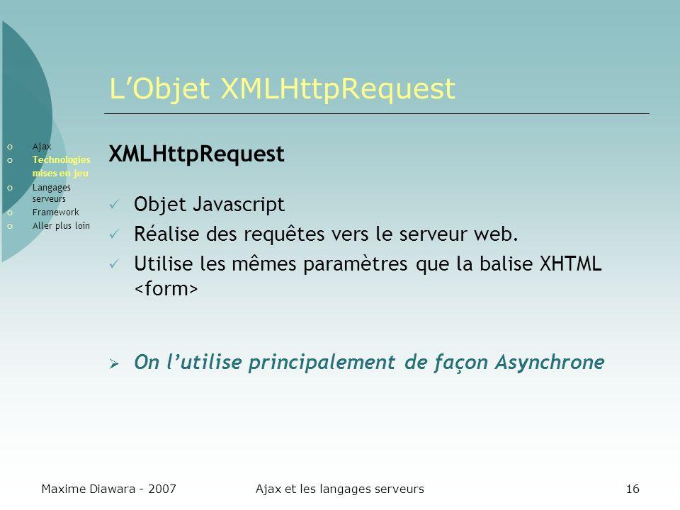 Maxime Diawara - 2007Ajax et les langages serveurs16 LObjet XMLHttpRequest XMLHttpRequest Objet Javascript Réalise des requêtes vers le serveur web. U