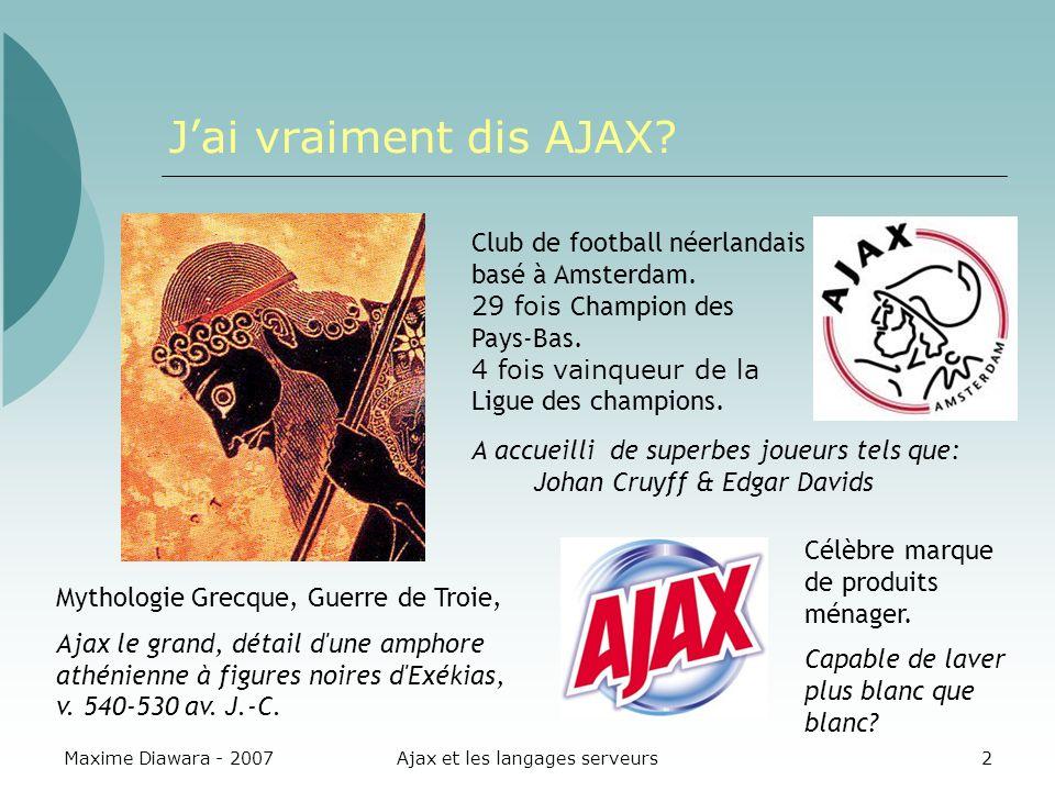 Maxime Diawara - 2007Ajax et les langages serveurs2 Jai vraiment dis AJAX.