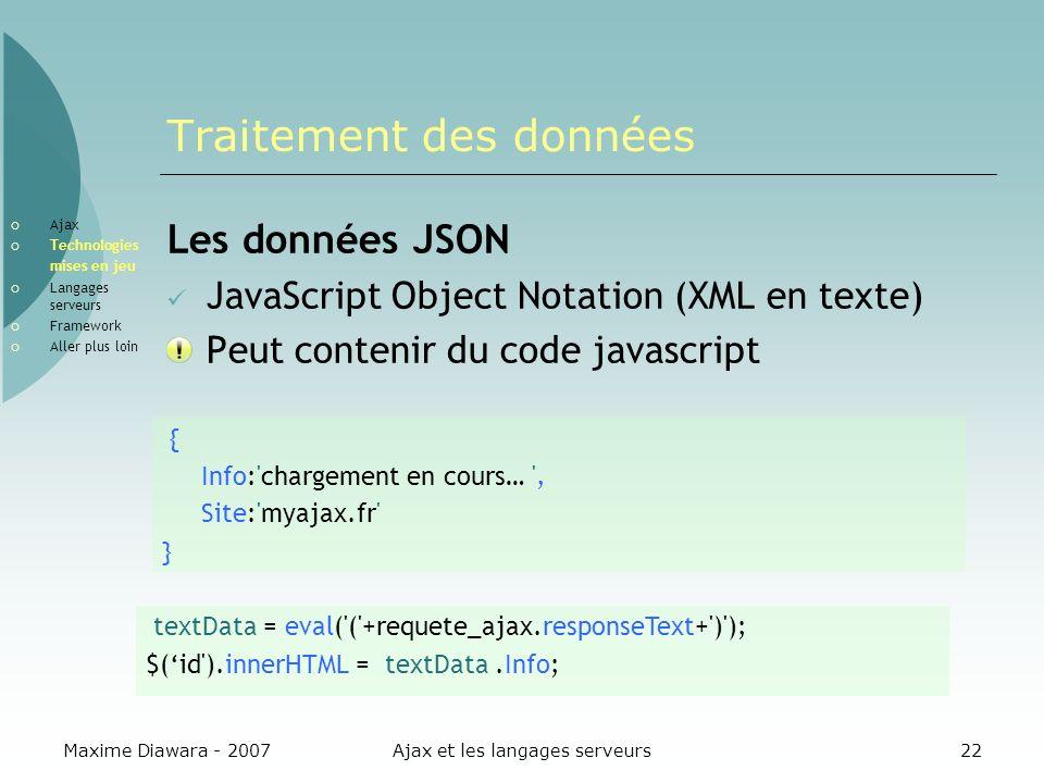 Maxime Diawara - 2007Ajax et les langages serveurs22 Traitement des données Les données JSON JavaScript Object Notation (XML en texte) Peut contenir d