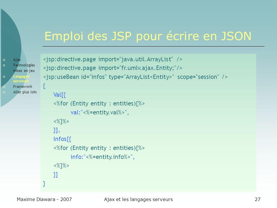 Maxime Diawara - 2007Ajax et les langages serveurs27 Emploi des JSP pour écrire en JSON Ajax Technologies mises en jeu Langages serveurs Framework Aller plus loin scope= session /> { Val[{ val: , }], Infos[{ info: , }] }