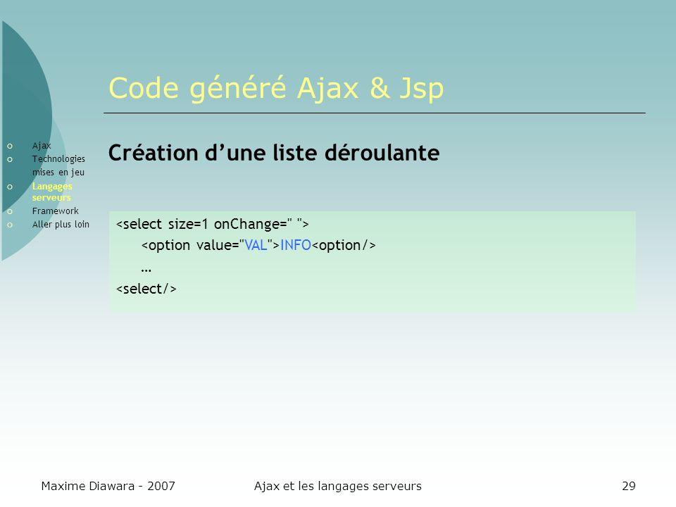 Maxime Diawara - 2007Ajax et les langages serveurs29 Code généré Ajax & Jsp Création dune liste déroulante INFO … Ajax Technologies mises en jeu Langages serveurs Framework Aller plus loin