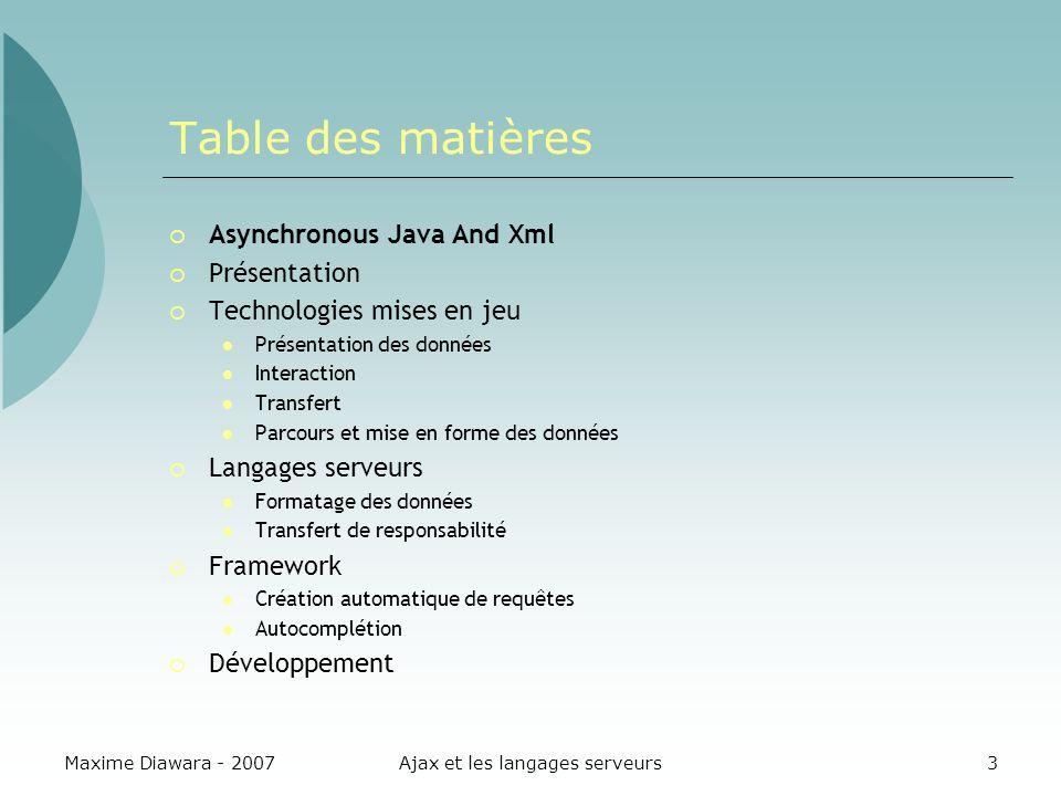 Maxime Diawara - 2007Ajax et les langages serveurs24 Envoi dune requête Post POST function sendData(id){ $( infoUser ).innerHTML = connexion au serveur ; var request_ajax = getHttpRequest(); request_ajax.onreadystatechange = function() { onResult(request_ajax); }; request_ajax.open( POST , « Context/Servlet , true); request_ajax.setRequestHeader( Content-Type , application/x-www- form-urlencoded ); var data = id =+id; request_ajax.send(data); } Ajax Technologies mises en jeu Langages serveurs Framework Aller plus loin