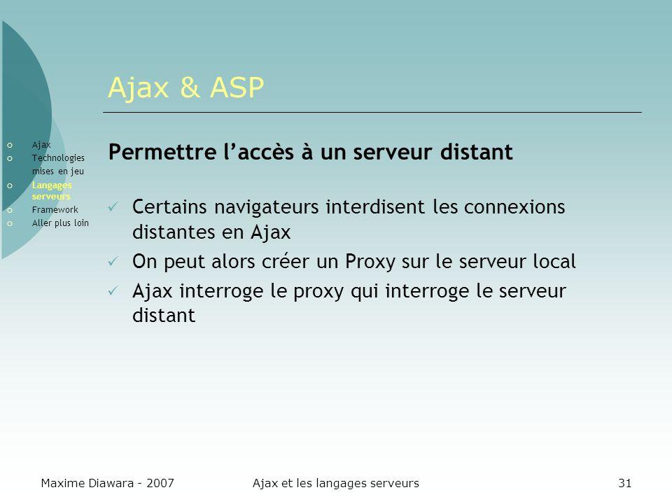 Maxime Diawara - 2007Ajax et les langages serveurs31 Ajax & ASP Permettre laccès à un serveur distant Certains navigateurs interdisent les connexions