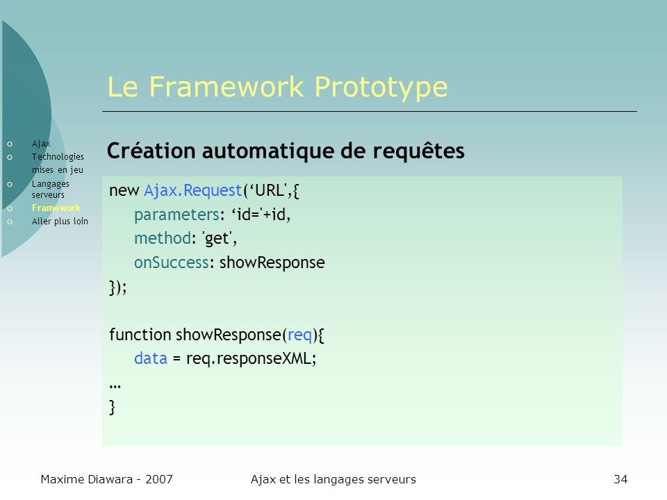Maxime Diawara - 2007Ajax et les langages serveurs34 Le Framework Prototype Création automatique de requêtes new Ajax.Request(URL',{ parameters: id='+