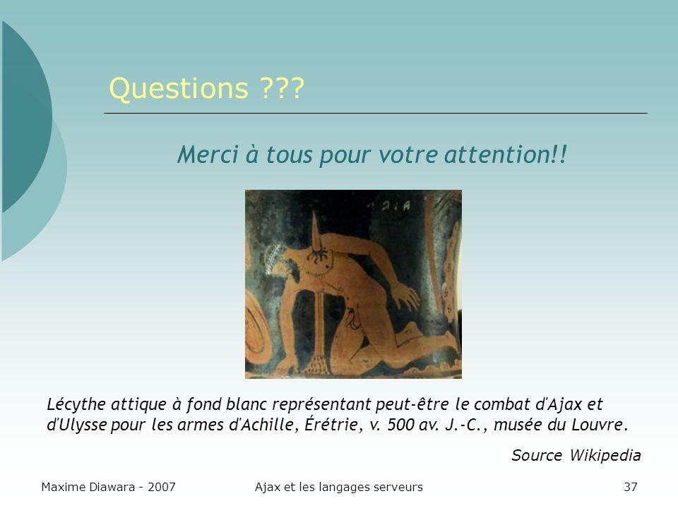 Maxime Diawara - 2007Ajax et les langages serveurs37 Questions ??? Merci à tous pour votre attention!! Lécythe attique à fond blanc représentant peut-