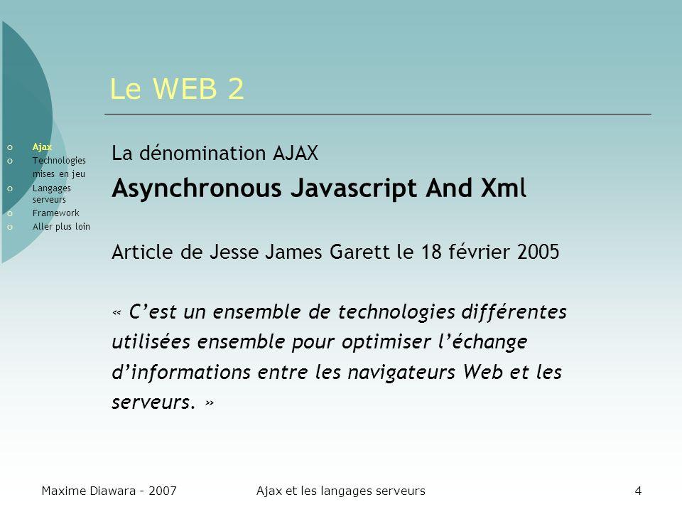 Maxime Diawara - 2007Ajax et les langages serveurs4 Le WEB 2 Ajax Technologies mises en jeu Langages serveurs Framework Aller plus loin La dénominatio