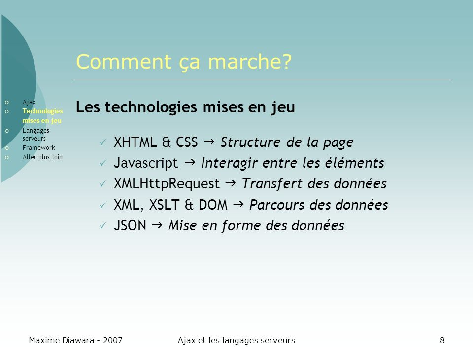Maxime Diawara - 2007Ajax et les langages serveurs8 Comment ça marche? Les technologies mises en jeu XHTML & CSS Structure de la page Javascript Inter