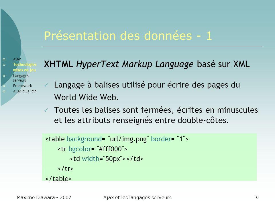 Maxime Diawara - 2007Ajax et les langages serveurs20 Traitement des données Utilisation des données XML Fichiers XML parsés et mis sous forme arbre Manipulation avec DOM On peut traiter les données avec un moteur XSLT Faire des sélections dans les nœuds avec XPATH Ajax Technologies mises en jeu Langages serveurs Framework Aller plus loin