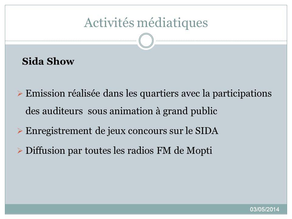 Activités médiatiques 03/05/2014 Sida Show Emission réalisée dans les quartiers avec la participations des auditeurs sous animation à grand public Enr