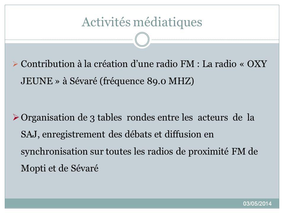 Activités médiatiques 03/05/2014 Contribution à la création dune radio FM : La radio « OXY JEUNE » à Sévaré (fréquence 89.0 MHZ) Organisation de 3 tab