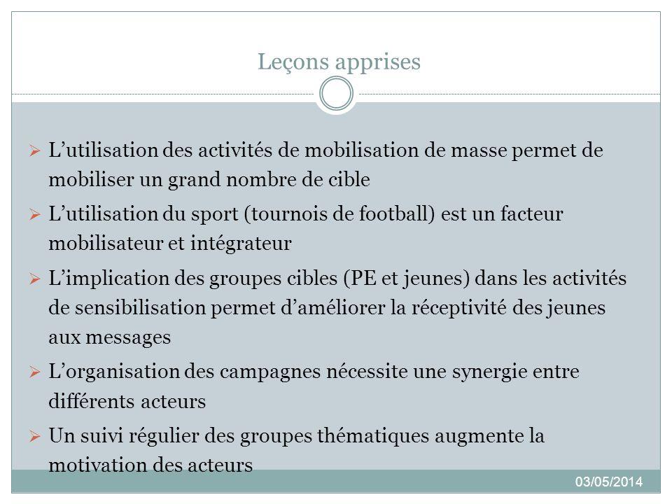 Leçons apprises 03/05/2014 Lutilisation des activités de mobilisation de masse permet de mobiliser un grand nombre de cible Lutilisation du sport (tou