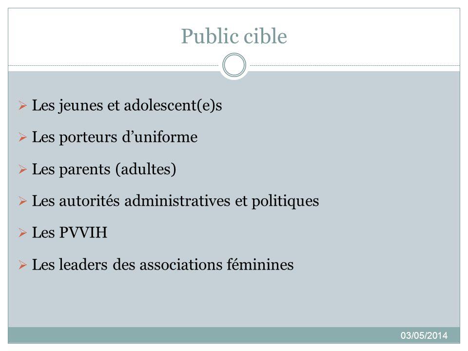 Public cible 03/05/2014 Les jeunes et adolescent(e)s Les porteurs duniforme Les parents (adultes) Les autorités administratives et politiques Les PVVI