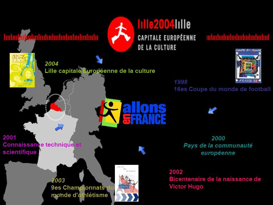 1998 16es Coupe du monde de football 2004 Lille capitale Européenne de la culture 2003 9es Championnats du monde d'athlétisme 2000 Pays de la communau