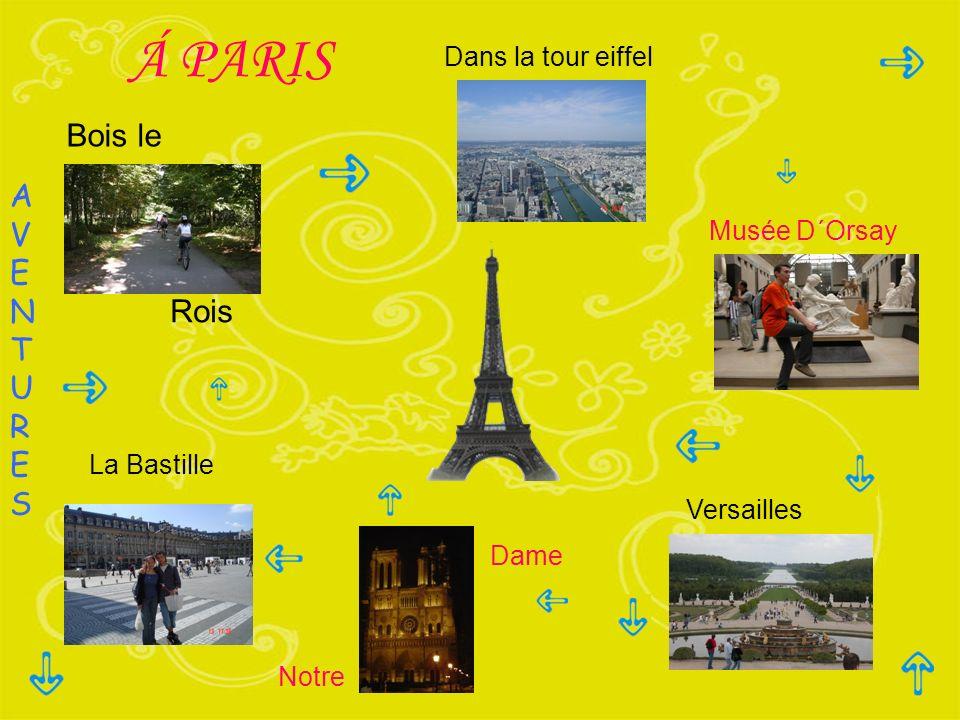 Á PARIS Dans la tour eiffel Musée D´Orsay Versailles La Bastille AVENTURESAVENTURES Notre Dame Bois le Rois