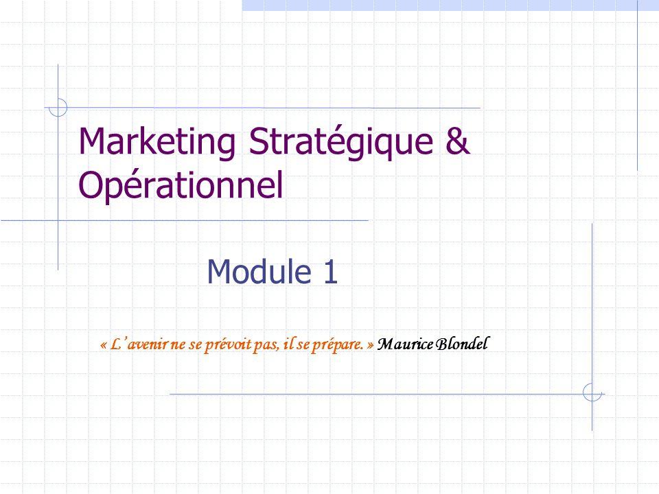 Marketing Stratégique & Opérationnel Module 1 « Lavenir ne se prévoit pas, il se prépare. » Maurice Blondel
