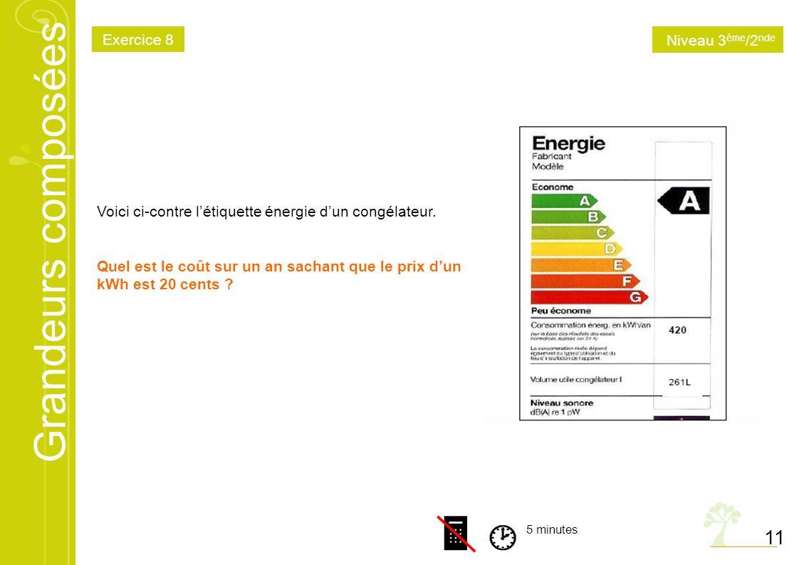 Grandeurs composées 11 5 minutes Voici ci-contre létiquette énergie dun congélateur. Quel est le coût sur un an sachant que le prix dun kWh est 20 cen