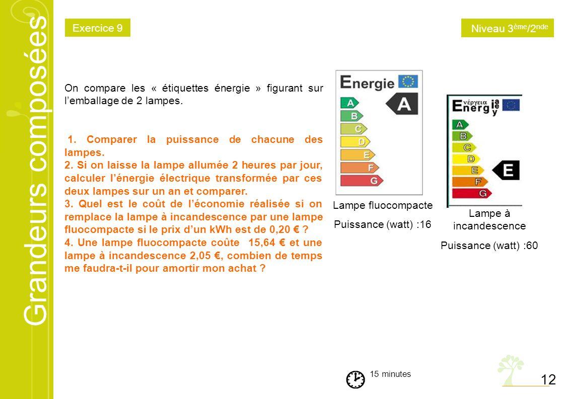 Grandeurs composées 12 15 minutes On compare les « étiquettes énergie » figurant sur lemballage de 2 lampes. 1. Comparer la puissance de chacune des l