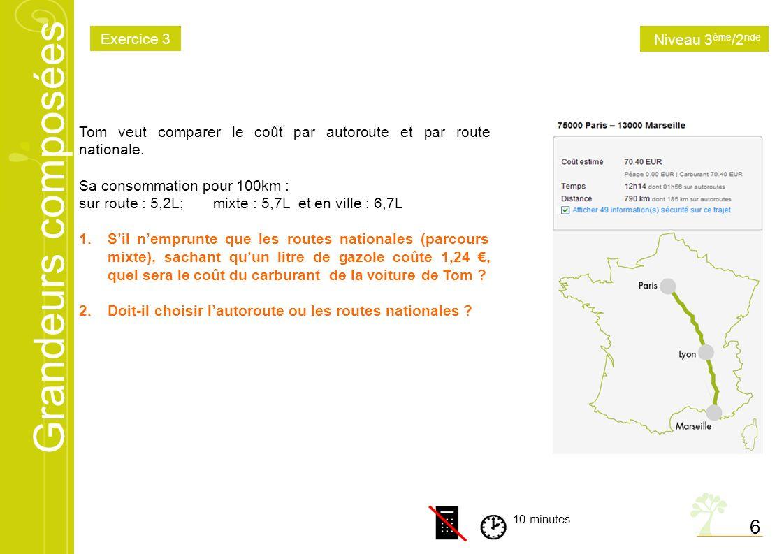 Grandeurs composées 6 10 minutes Tom veut comparer le coût par autoroute et par route nationale. Sa consommation pour 100km : sur route : 5,2L; mixte
