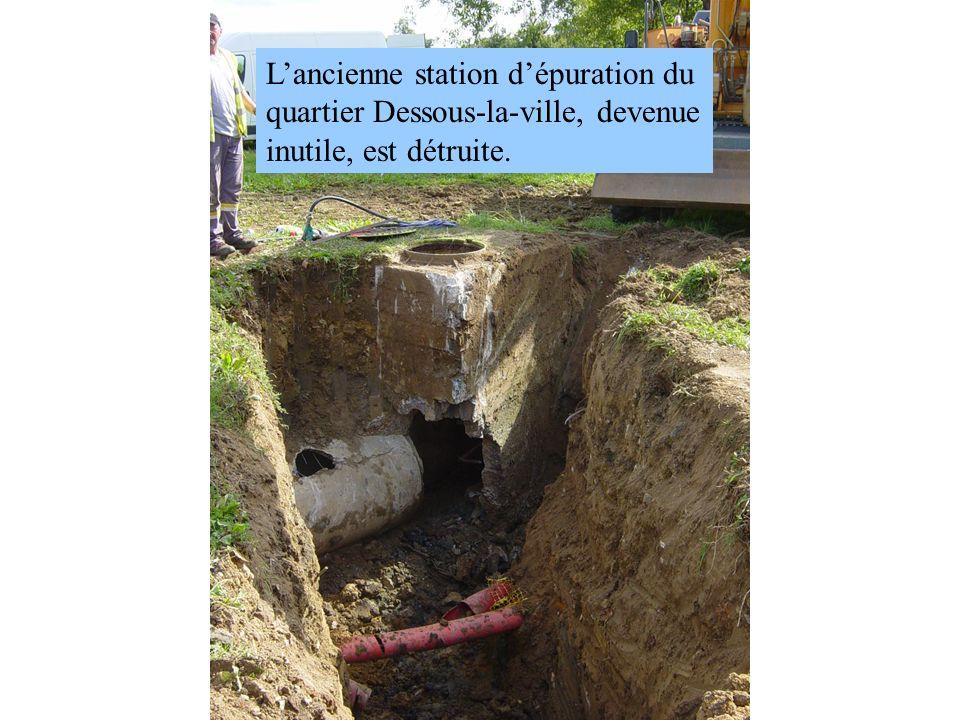Lancienne station dépuration du quartier Dessous-la-ville, devenue inutile, est détruite.