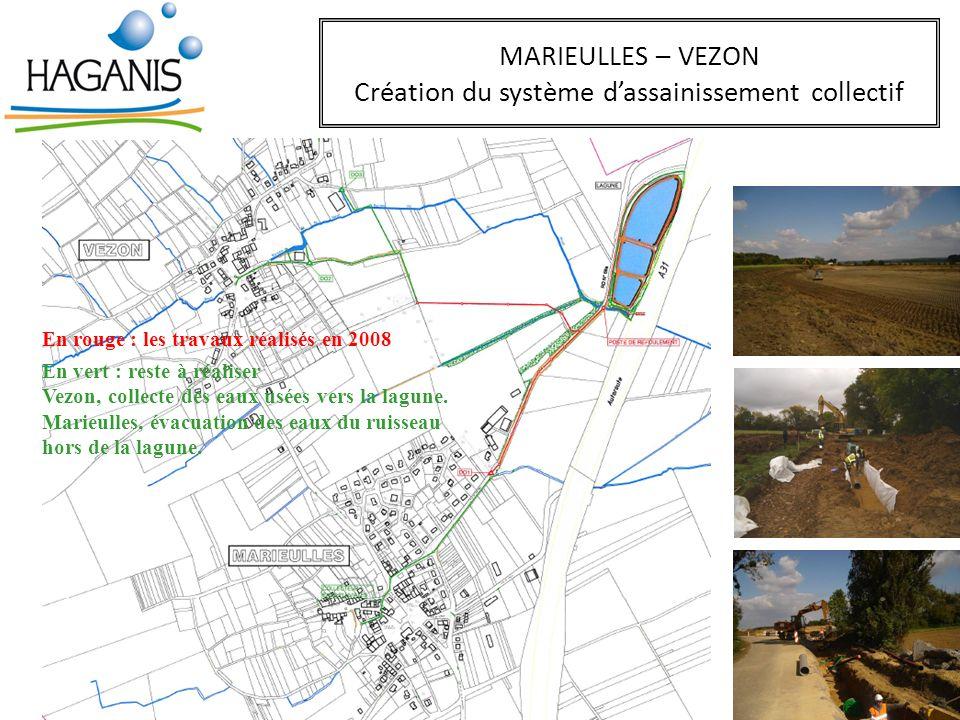 MARIEULLES – VEZON Création du système dassainissement collectif En rouge : les travaux réalisés en 2008 En vert : reste à réaliser Vezon, collecte de