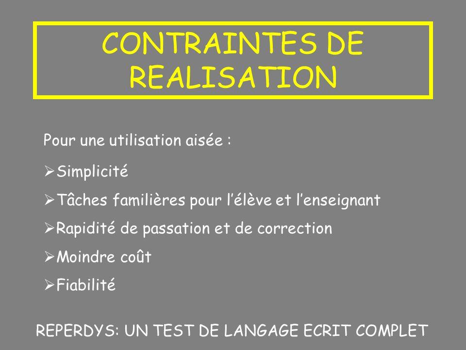 CONTRAINTES DE REALISATION Pour une utilisation aisée : Simplicité Tâches familières pour lélève et lenseignant Rapidité de passation et de correction