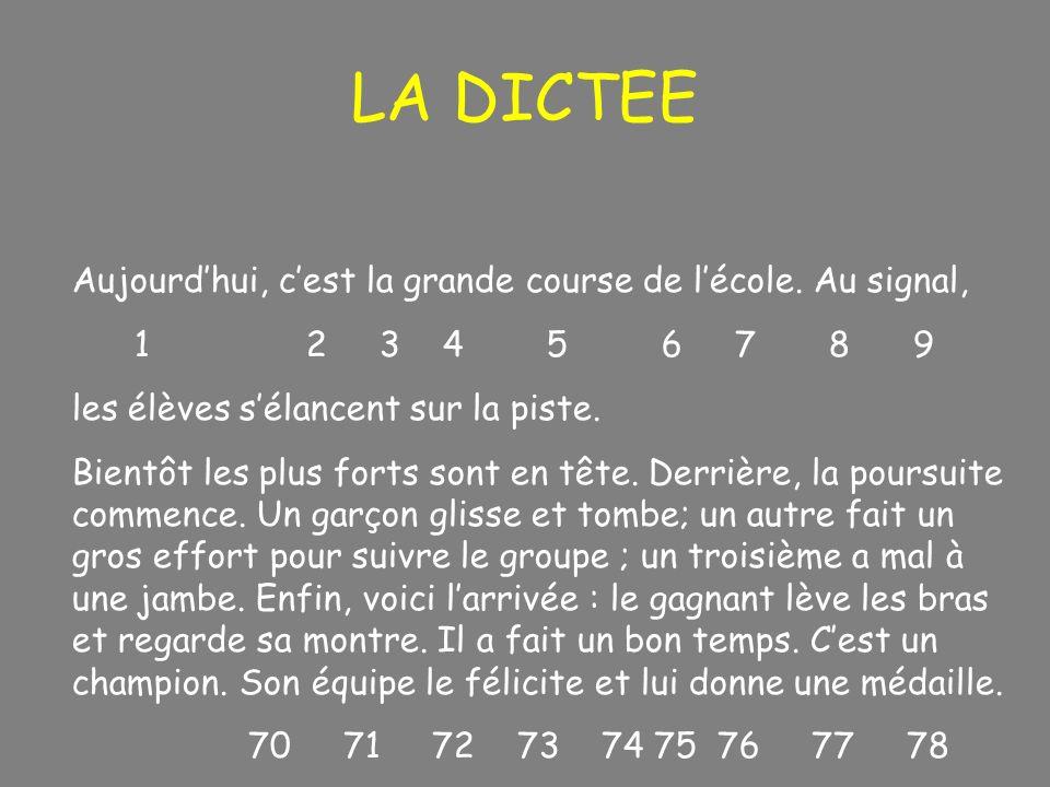 LA DICTEE Aujourdhui, cest la grande course de lécole. Au signal, 1 2 3 4 5 6 7 8 9 les élèves sélancent sur la piste. Bientôt les plus forts sont en