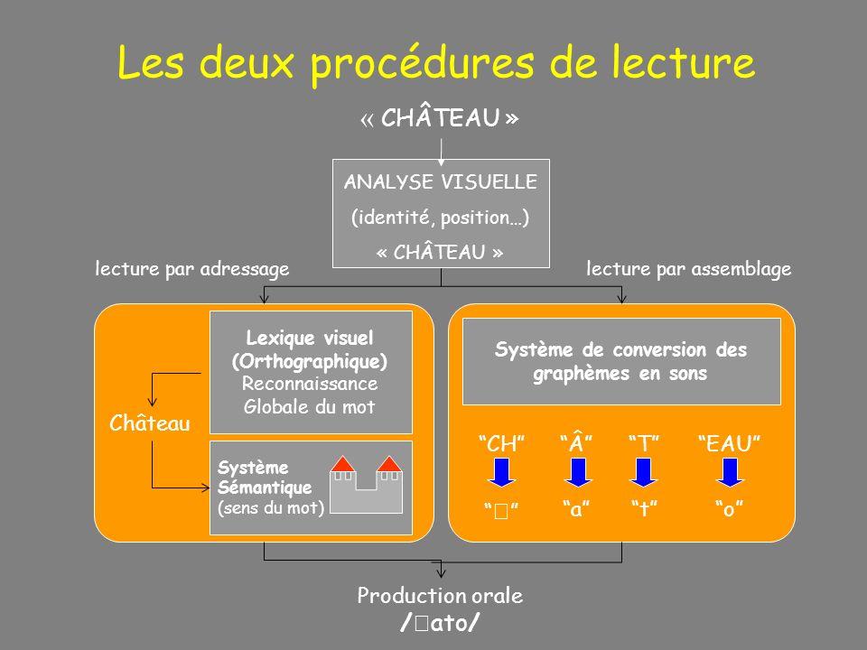 « CHÂTEAU » ANALYSE VISUELLE (identité, position…) « CHÂTEAU » Production orale / ato/ lecture par adressagelecture par assemblage Lexique visuel (Ort