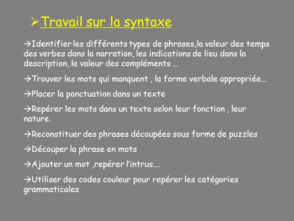 Identifier les différents types de phrases,la valeur des temps des verbes dans la narration, les indications de lieu dans la description, la valeur de