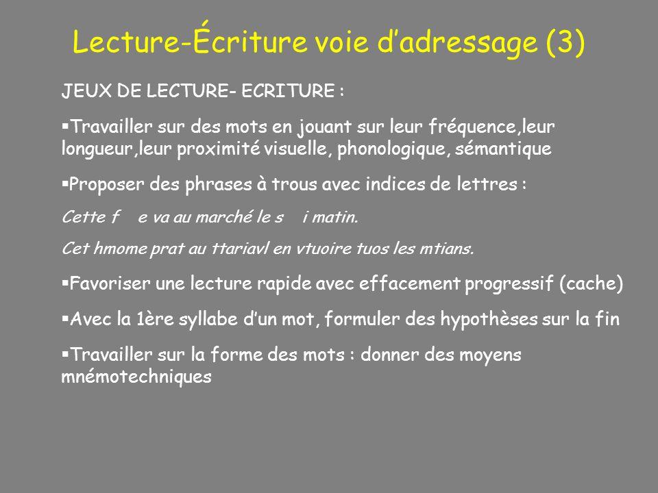Lecture-Écriture voie dadressage (3) JEUX DE LECTURE- ECRITURE : Travailler sur des mots en jouant sur leur fréquence,leur longueur,leur proximité vis