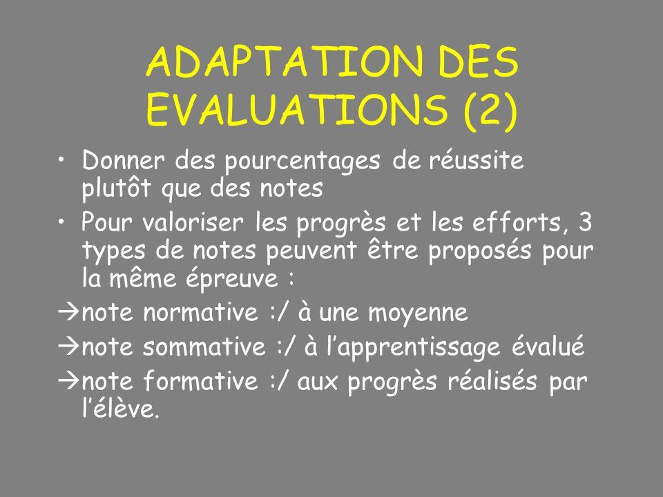 ADAPTATION DES EVALUATIONS (2) Donner des pourcentages de réussite plutôt que des notes Pour valoriser les progrès et les efforts, 3 types de notes pe