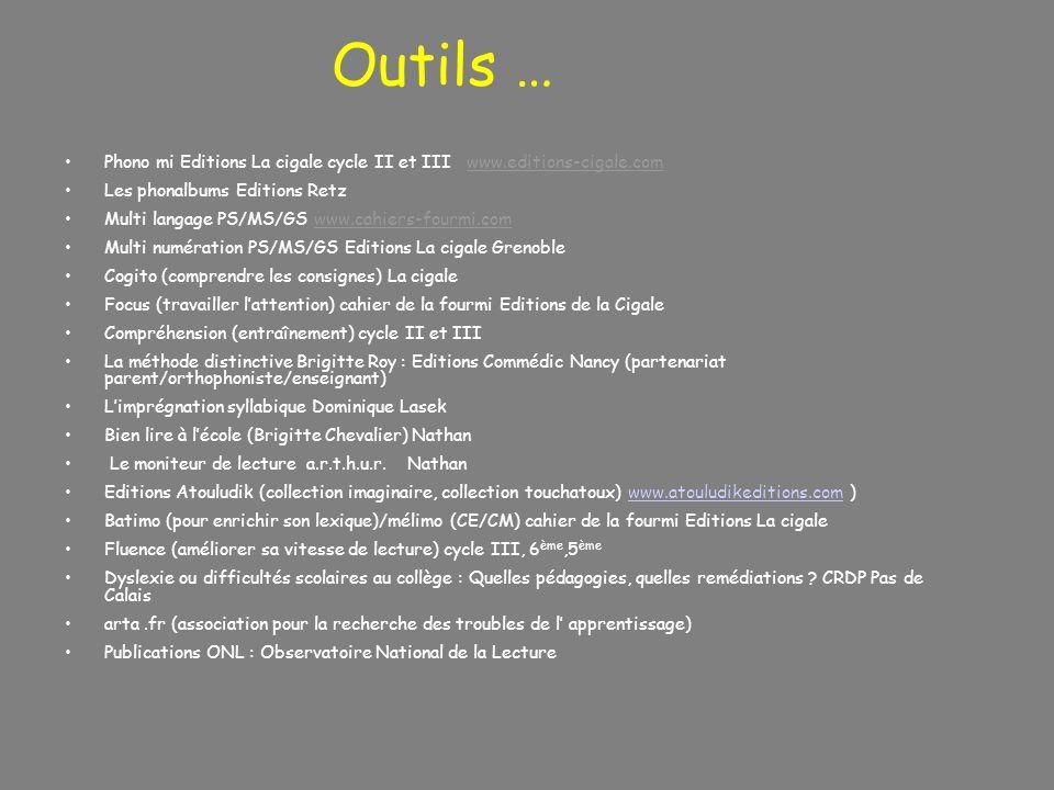 Outils … Phono mi Editions La cigale cycle II et III www.editions-cigale.com Les phonalbums Editions Retz Multi langage PS/MS/GS www.cahiers-fourmi.co