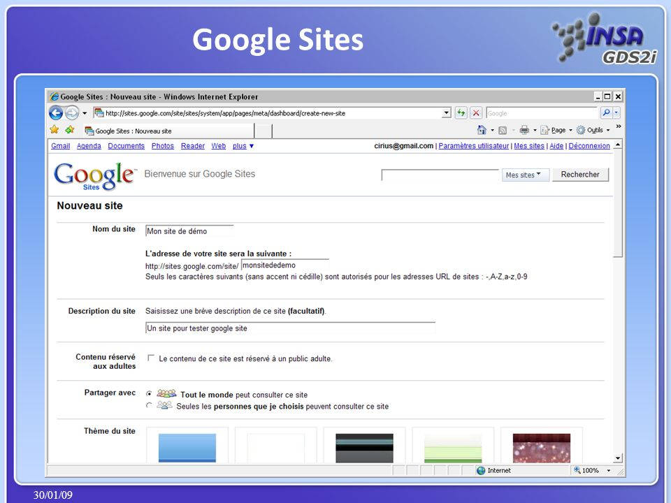 30/01/09 Google Sites