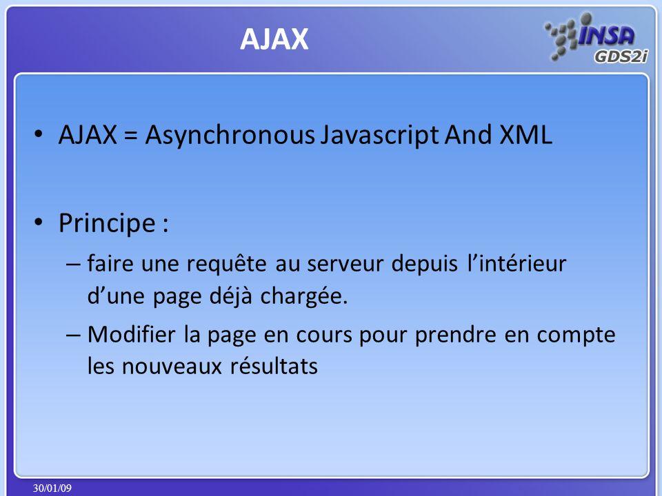 30/01/09 AJAX = Asynchronous Javascript And XML Principe : – faire une requête au serveur depuis lintérieur dune page déjà chargée. – Modifier la page