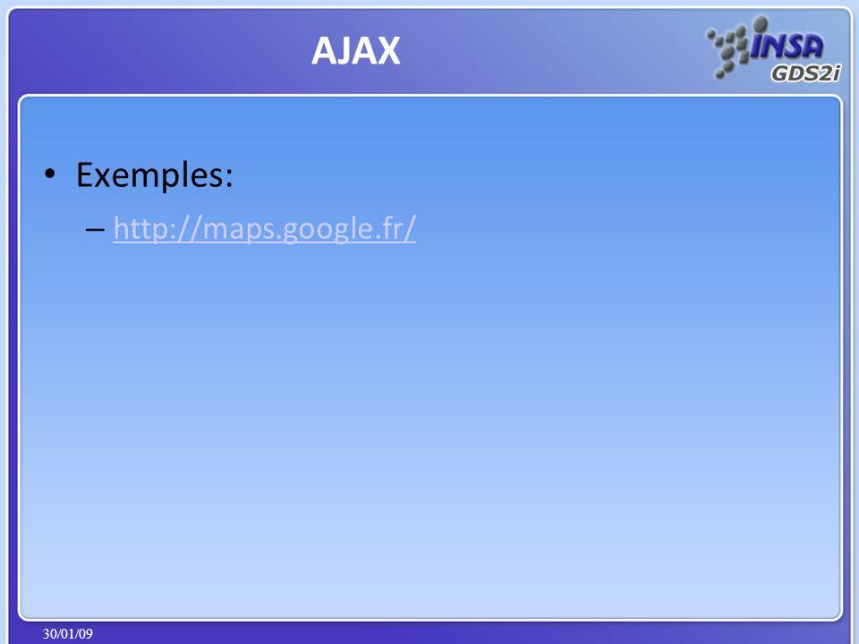 30/01/09 Exemples: – http://maps.google.fr/ http://maps.google.fr/ AJAX
