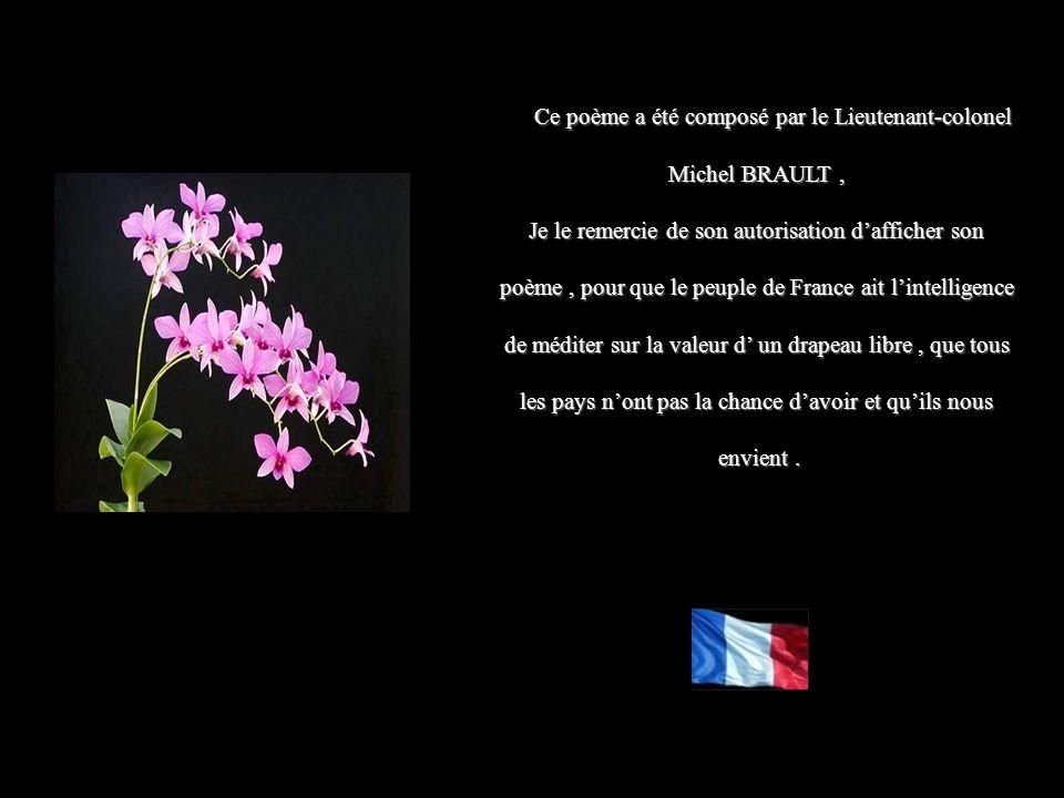 Ce poème a été composé par le Lieutenant-colonel Ce poème a été composé par le Lieutenant-colonel Michel BRAULT, Je le remercie de son autorisation dafficher son poème, pour que le peuple de France ait lintelligence de méditer sur la valeur d un drapeau libre, que tous les pays nont pas la chance davoir et quils nous envient.