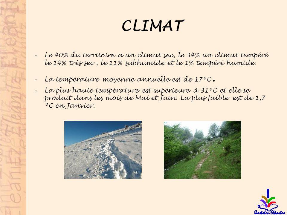 CLIMAT Le 40% du territoire a un climat sec, le 34% un climat tempéré le 14% très sec, le 11% subhumide et le 1% tempéré humide. La température moyenn